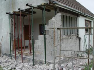 House with knocked down walls