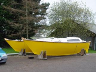 Tiki 8m hulls on stands