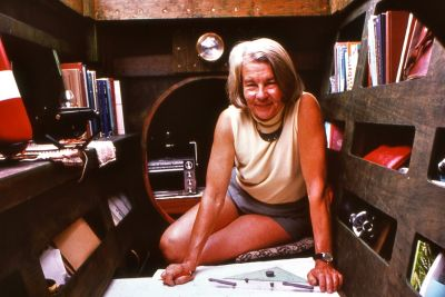 Ruth as navigator on her voyage across the Tasman sea aboard  Tangaroa Mk I 'KM' in 1975