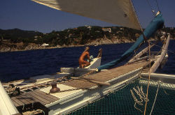 Spirit of Gaia - view from bow under sail
