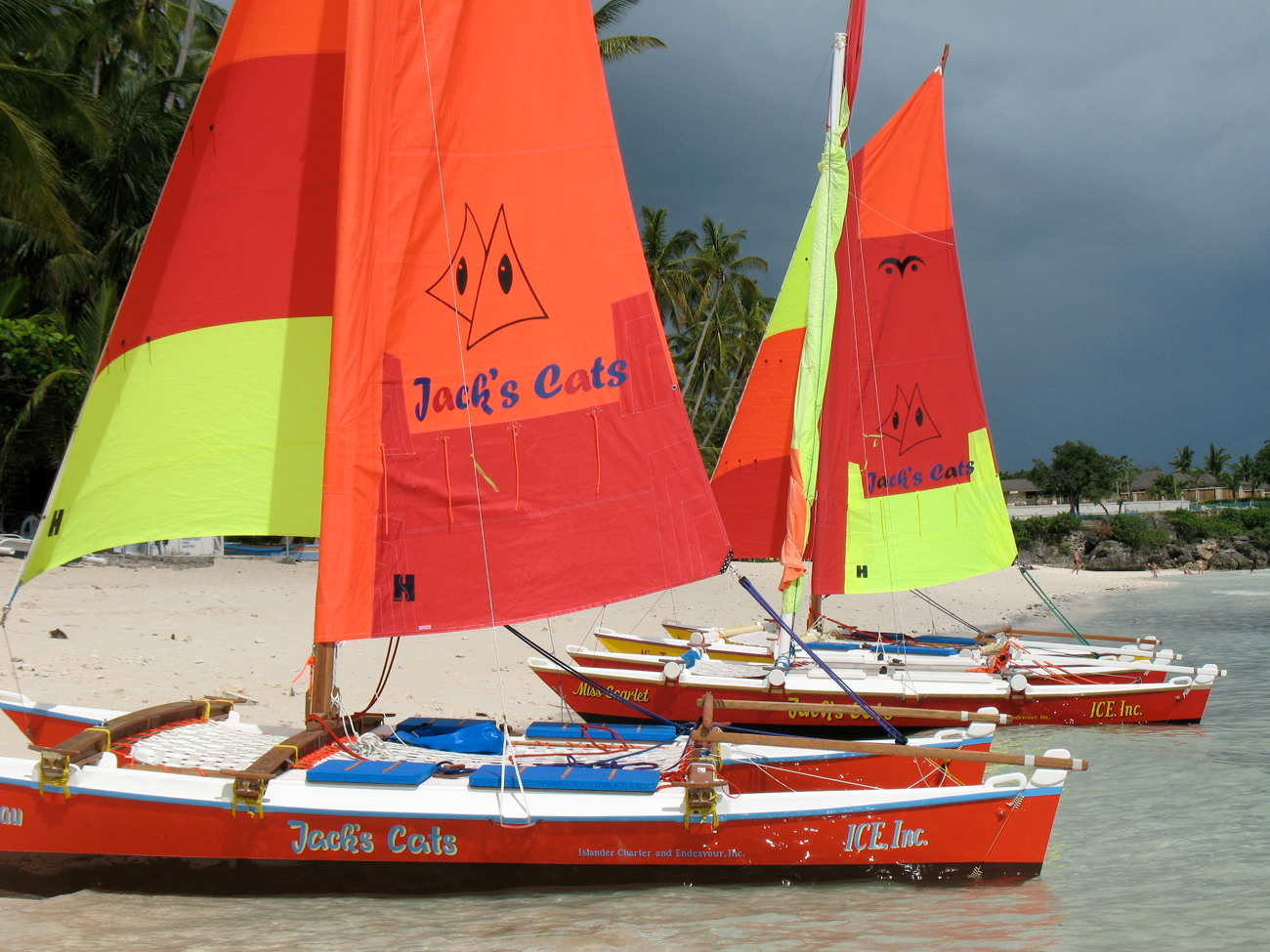 Three Hitia 17s with colourful sails on the beach