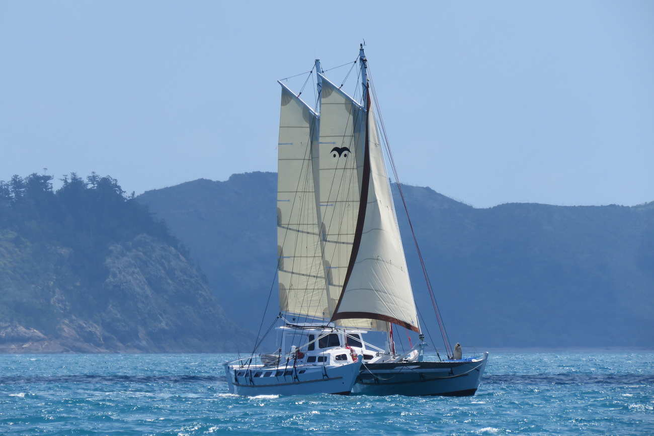 Distant photo of Wharram Tiki 46 on the water with all sails up