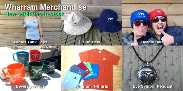 Wharram Merchandise. New additions in stock. Ladies Tank Tops. Sun Hats. Beanie Hats. Beverage Mugs. Wharram T-Shirts. Eye Symbol Pendant.