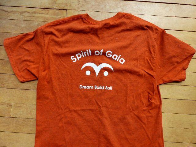 T-shirt with Wharram eye symbol and boat name