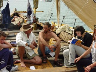 James talking to crew on the Cossack ship