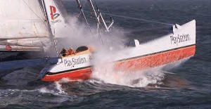 Large racing catamaran at high speed