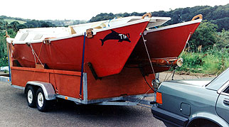Tiki 21 being towed on trailer