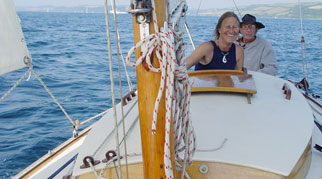 James and Hanneke sailing a monohull yacht