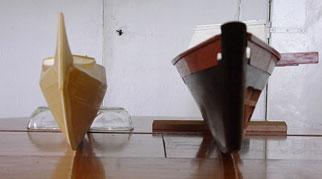 Models of Tangaroa and Tama Moana hulls