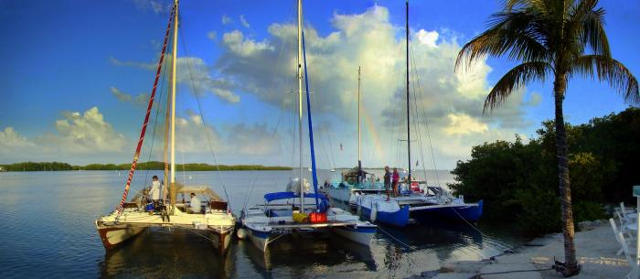 3 Wharram catamarans on the shore