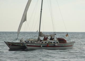 Catamaran at sea